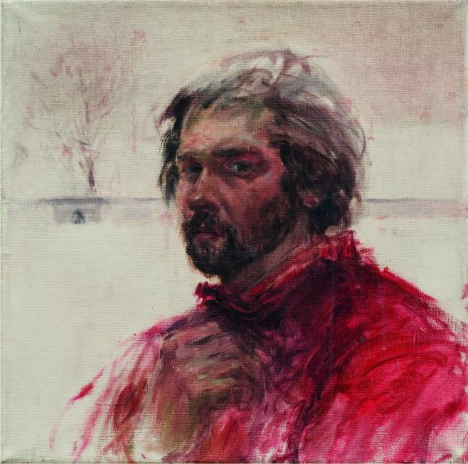 Jozef_Panfil_Autoportret_w_czerwonym_swetrze_1986_olej_p